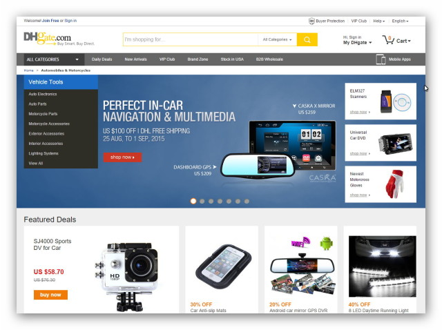 The Chinese online marketplace DHGate sells electronics, fashion, gadgets from China.