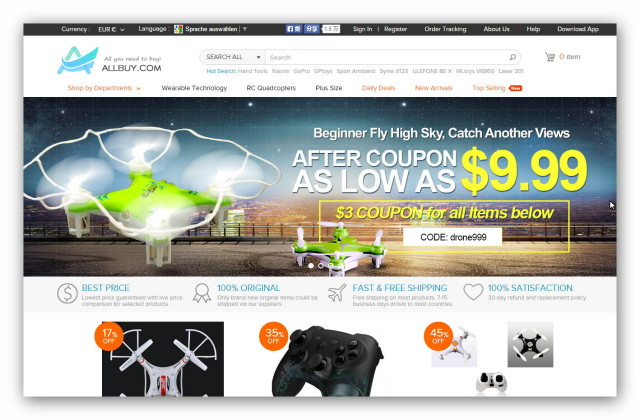 The Chinese online store Allbuy offers a wide range of electronics, gadgets, toys, clothes, appliances and more.