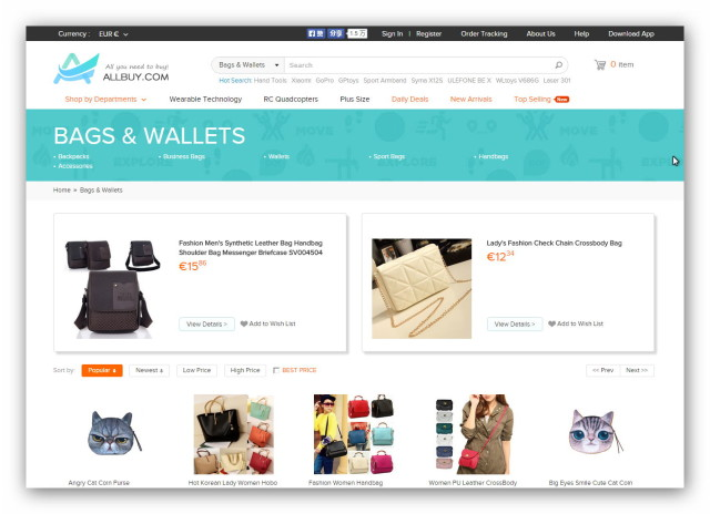 Allbuy is a Chinese online shopping mall with electronics, fashion, toys, home items and much more