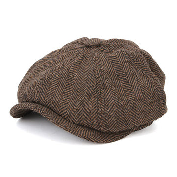 Men Visor Woolen Blending Newsboy Beret Caps Outdoor Casual Winter Cabbie Ivy Flat Hat