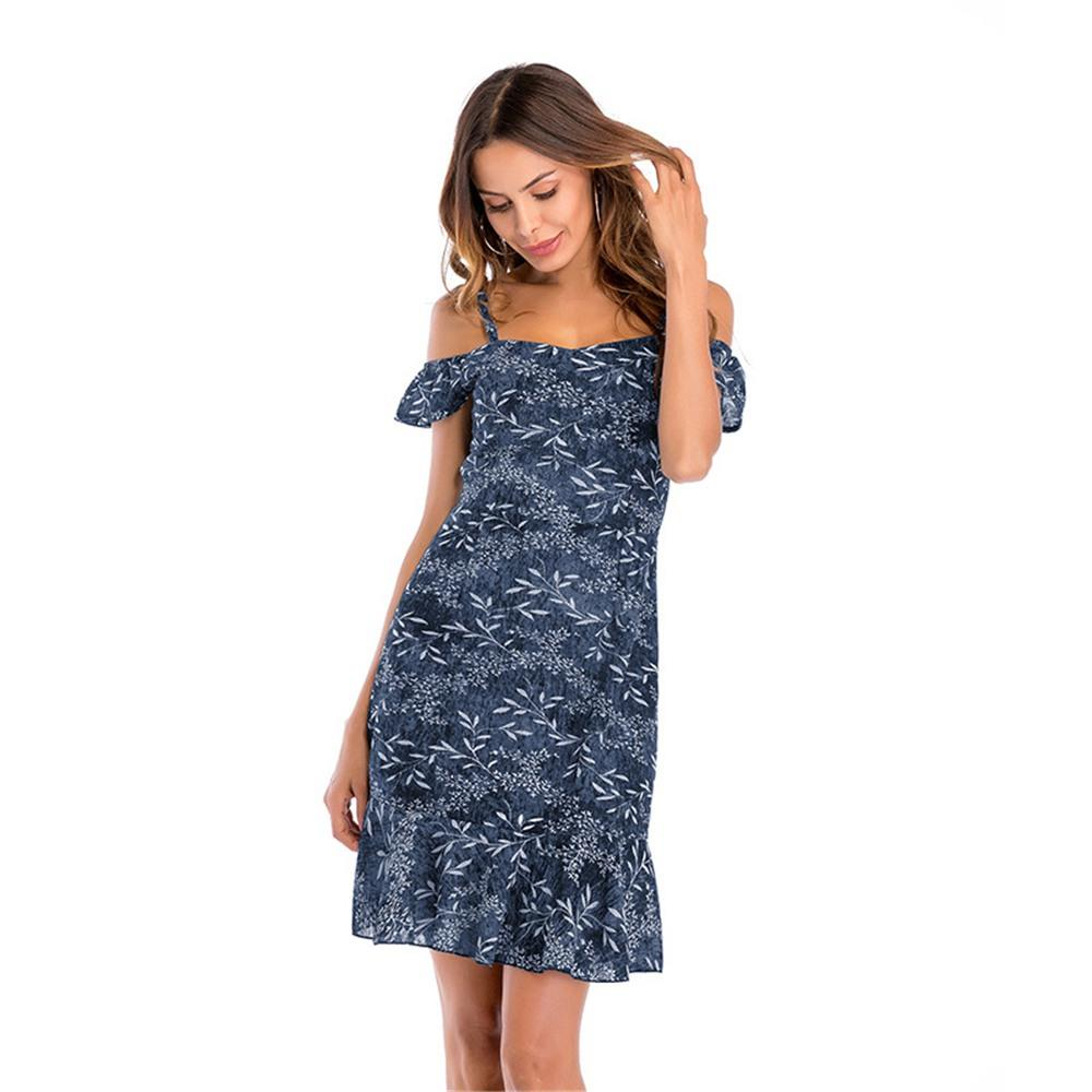 Women Summer Floral Printed Sling Chiffon Dress Dark Blue