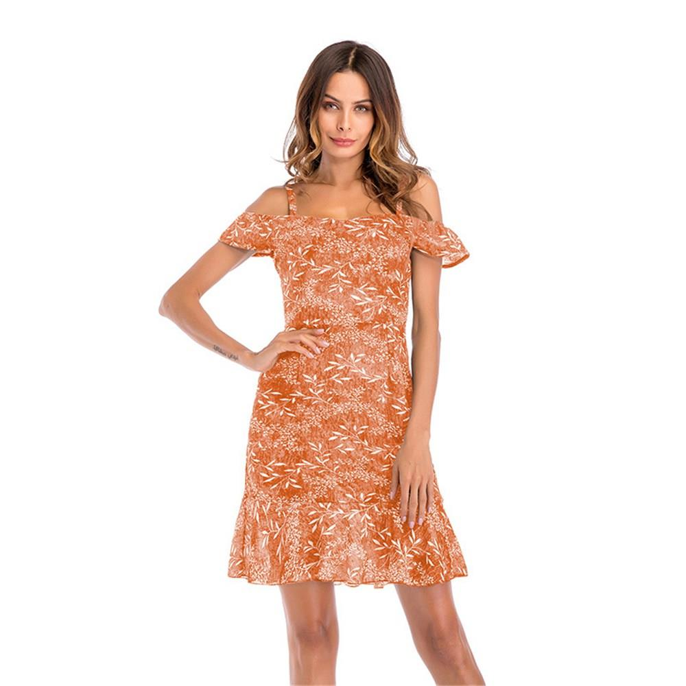 Women Summer Floral Printed Sling Chiffon Dress Orange