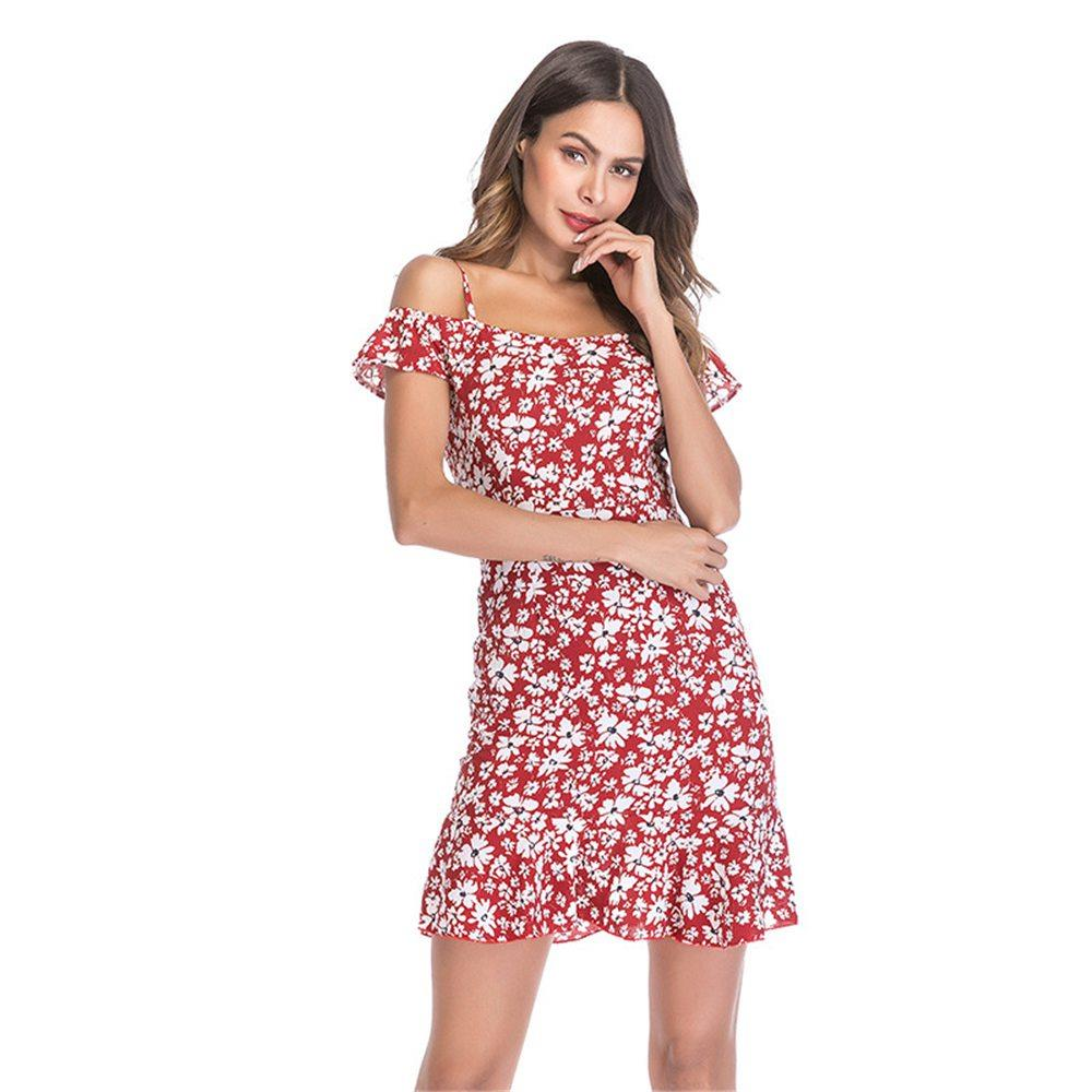 Women Summer Floral Printed Sling Chiffon Dress Red