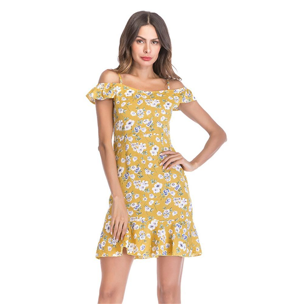 Women Summer Floral Printed Sling Chiffon Dress Yellow