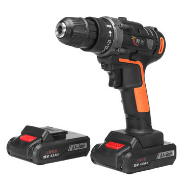 25V 4000mAh Cordless Rechargeable Power Drill Driver Electric Screwdriver with 2 Li-ion Batteries