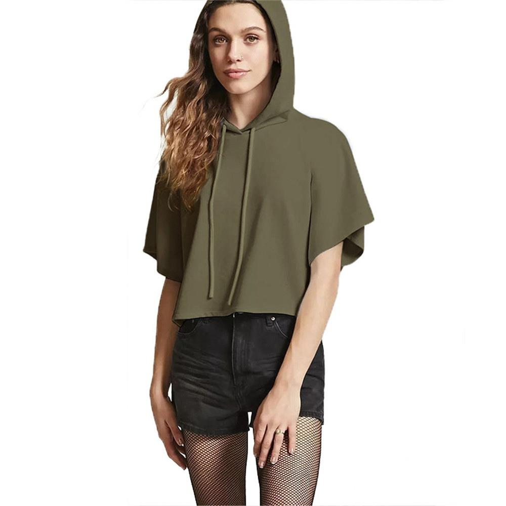 Girl Short Sleeve Hoodies Green