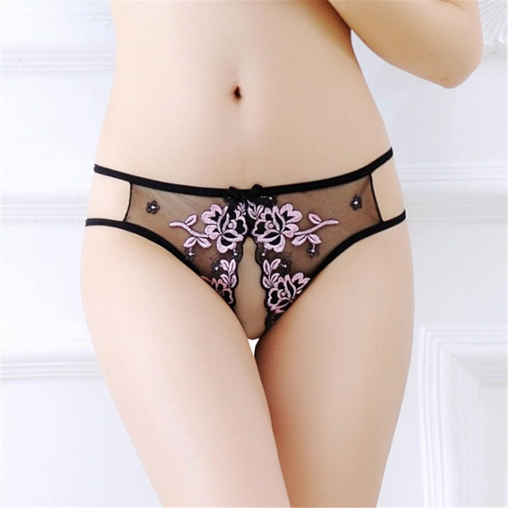 Women's Underwear Lace Embroidery Thong T Pants-Pink