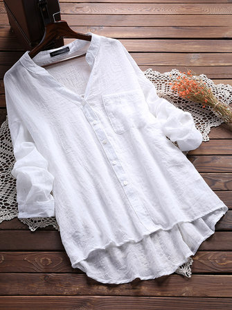 US$14.99 68% Casual Women See Through Long Sleeve Pocket Blouse Women's Clothing from Clothing and Apparel on banggood.com