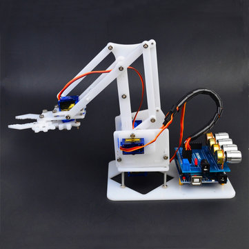 US$20.99 16% DIY 4DOF Arduino RC Robot Arm Educational Kit With SG90 Servos White RC Robot from Toys Hobbies and Robot on banggood.com