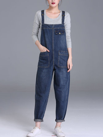 US$33.99 60% S-6XL Casual Women Denim Pockets Jumpsuit Playsuit Women's Clothing from Clothing and Apparel on banggood.com