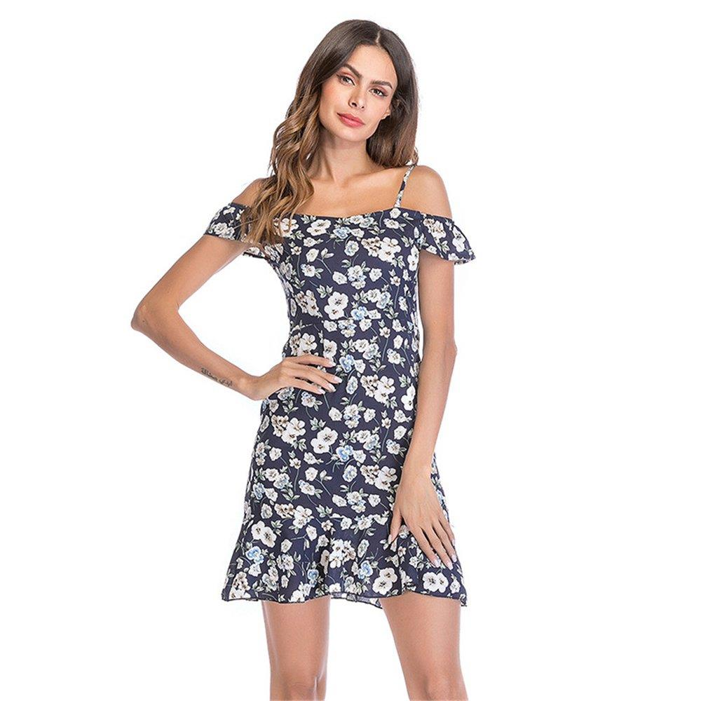 Women Summer Pear Flower Printed Sling Chiffon Dress Dark Blue