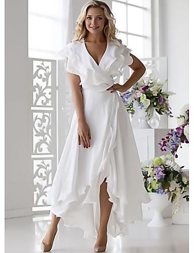 Damskie Seksowny Linia A Sukienka - Solidne kolory W serek Midi