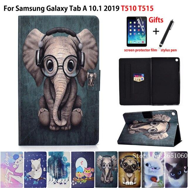 Skrzynka dla Samsung Galaxy Tab A 10.1 2019 T510 T515 SM-T510 pokrywa Funda moda zwierząt silikonowe PU skórzane stojak skóry + film + rysik