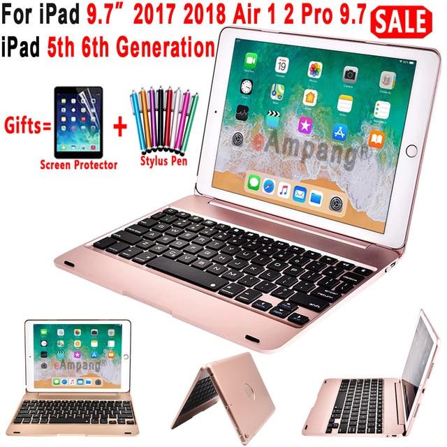 Top Flip klawiatura dla Apple iPad 9.7 2017 2018 5th 6th generacji etui z klawiaturą na bluetooth dla iPad powietrza 1 2 5 6 pro 9.7 pokrywa