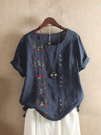 US$17.9964%Women Bohemian Embroidery Floral Short Sleeve T-ShirtsWomen's ClothingfromClothing and Apparelon banggood.com