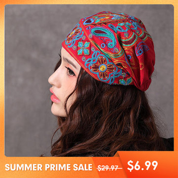 US$6.9977% Women Navy Vintage Beanie Hat Ethnic Embroidery Flowers Slouch Cotton Skullcap CapWomen's AccessoriesfromClothing and Apparelon banggood.com