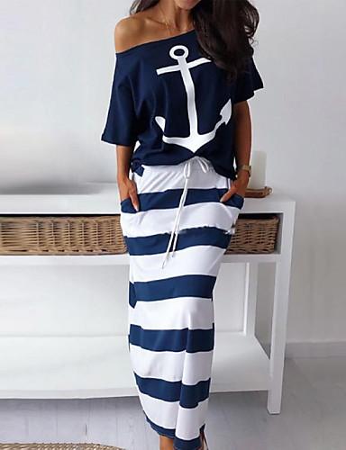 Damskie Podstawowy Pochwa Sukienka - Geometric Shape, Nadruk Z odsłoniętymi ramionami Do kolan