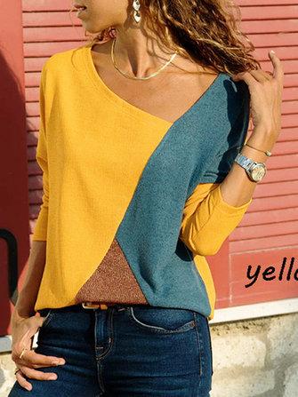 US$15.9960%S-5XL Casual Women Color Patchwork Asymmetrical Collar Long Sleeve BlouseWomen's ClothingfromClothing and Apparelon banggood.com