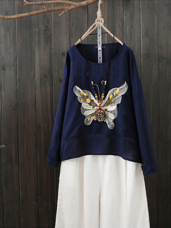 US$18.9955%Women Casual Loose Butterfly Embroidery O-Neck Long Sleeve T-shirtsWomen's ClothingfromClothing and Apparelon banggood.com