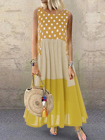 US$20.9967%Polka Dot Plaid Print Patchwork Sleeveless Maxi Dress Women's ClothingfromClothing and Apparelon banggood.com