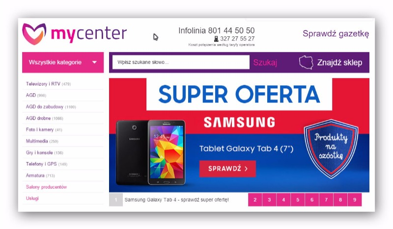 MyCenter electronics stores in Poland offer a wide range of devices