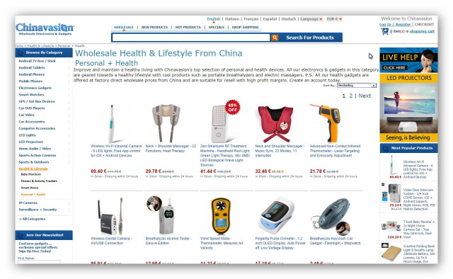 A big online store from China is ChinaVasion with a vast selection of gadgets.