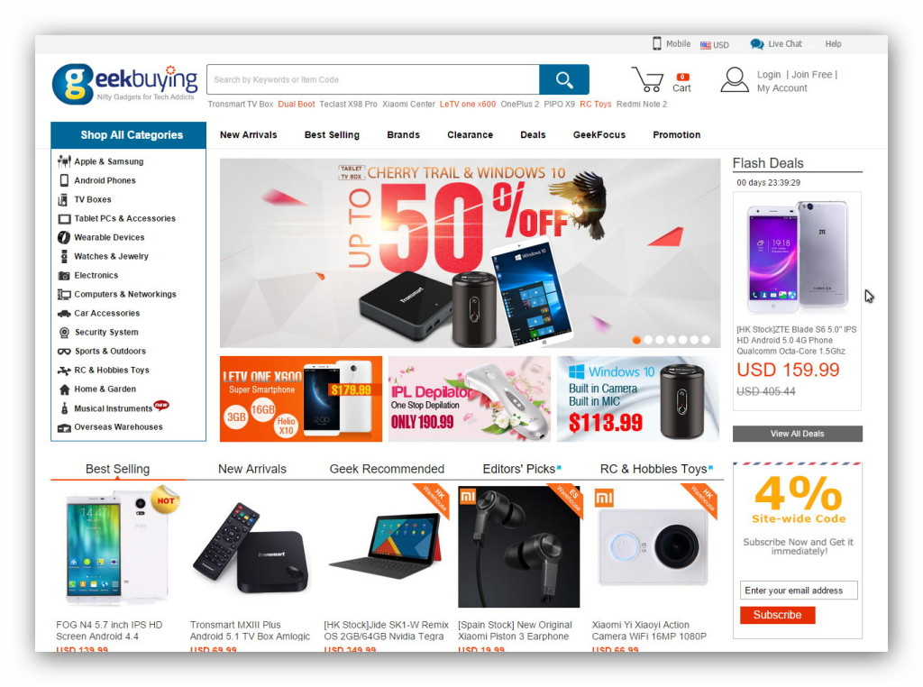 Geekbuying is an online gadgets store from China.