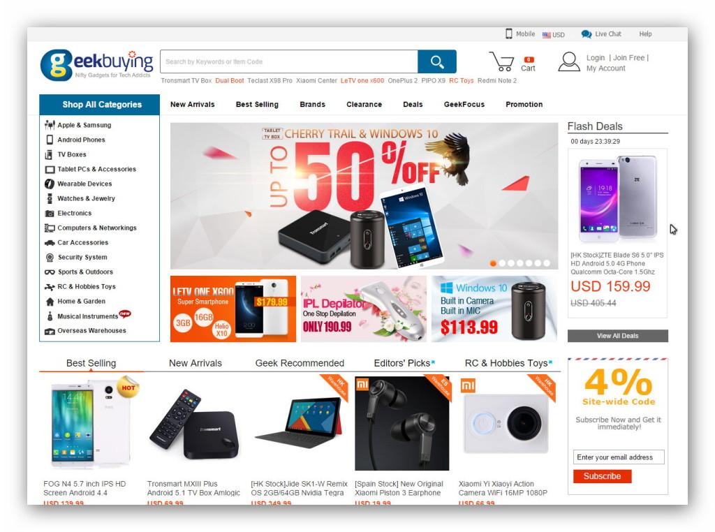 Nowoczesne technologie i elektronikę wyprodukowane w Chinach kupimy w ogromnym sklepie internetowym GeekBuying.