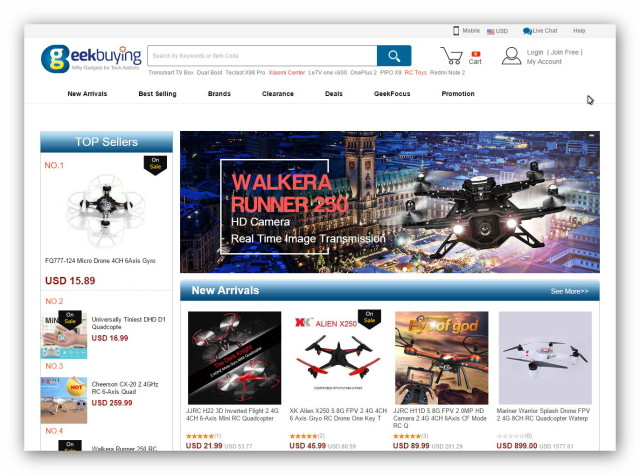 The Chinese online electronics store Geekbuying offers gadgets, computer accessories, drones, watches and more.
