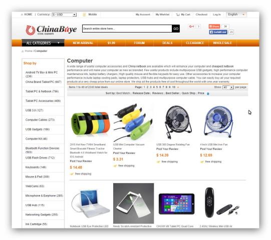 Internetowe centrum handlowe Chinabuye oferuje chińskie gadżety i inne produkty.