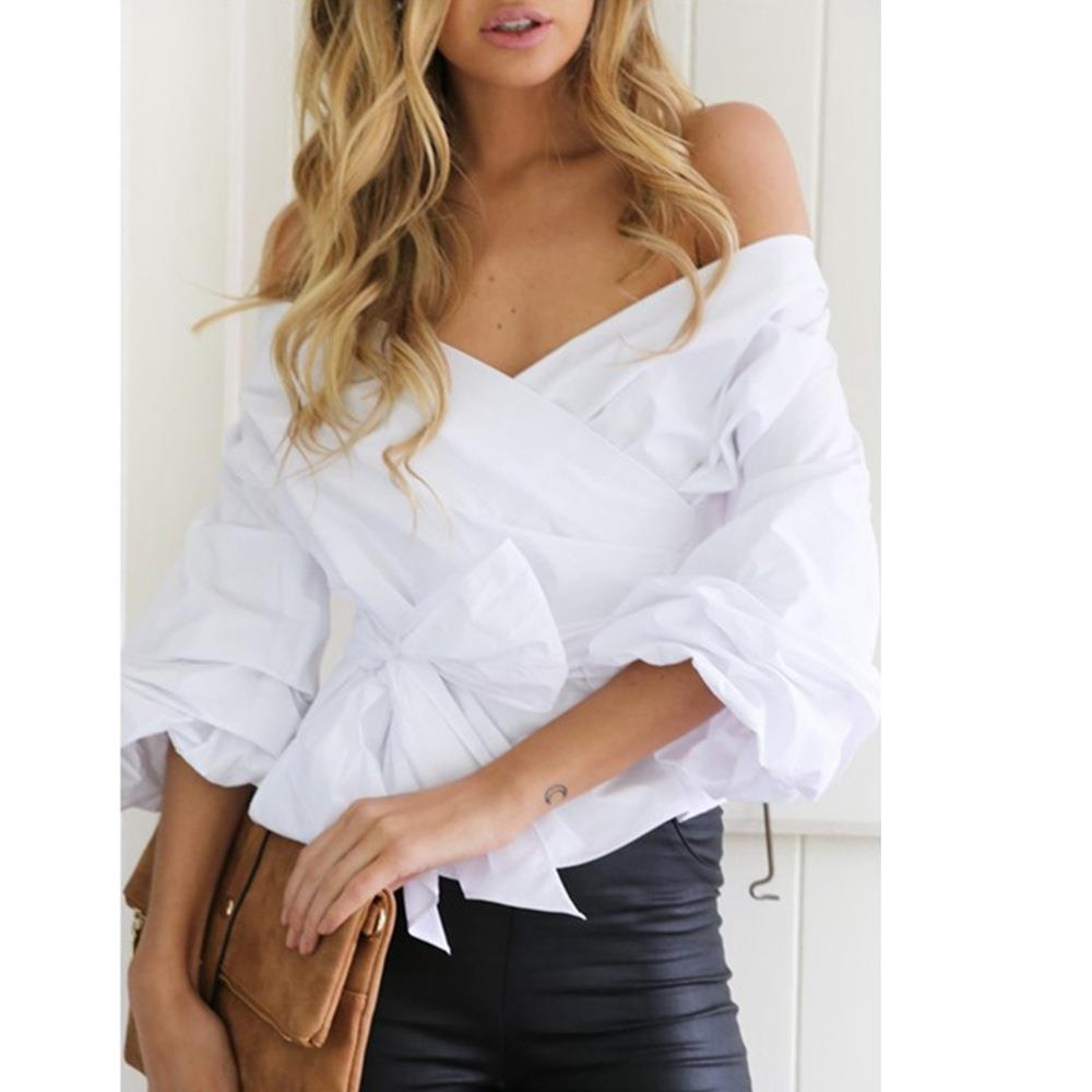 Women Strapless V-neck Cross Straps Shirt White