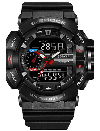 SMAEL Men's Sport Watch Military Watch Digital Watch Japanese Digital Quilted PU Leather Silicone Black / Red / Orange 50 m Water Resistant / Waterproof Calendar / date / day Chronograph Analog