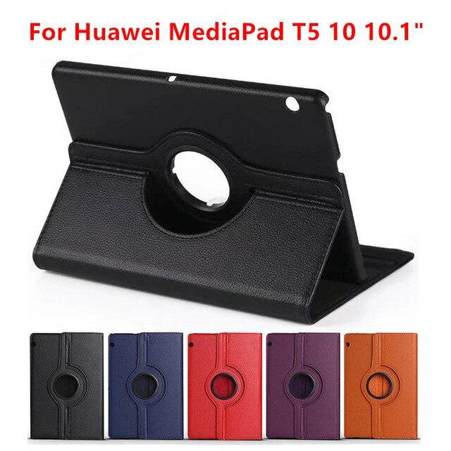 360 obracanie liczi etui z klapką stań skórzana klapka dla Huawei MediaPad T5 10 AGS2-W09/L09/L03/W19 10.1 cal etui na Tablet + folia + długopis