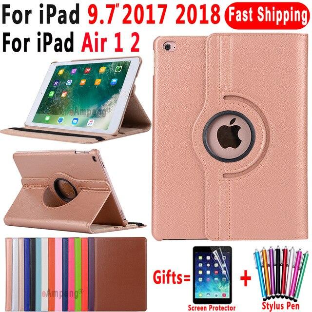 360 stopni obracanie inteligentne etui ze skóry etui do Apple iPad Air 1 2 5 6 ipada 9.7 2017 2018 5th 6th generacji Coque Funda