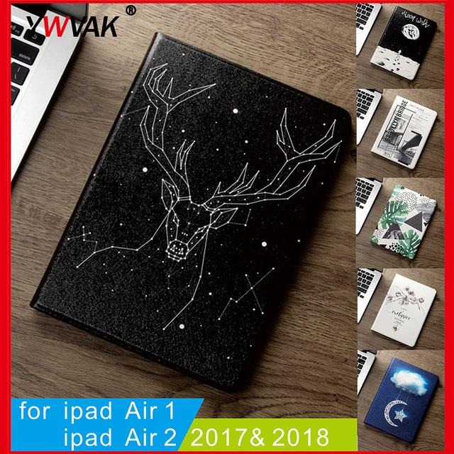 Etui dla nowego 2017 2018 iPad 9.7 cal Air 2 Air 1 wysokiej jakości miękkiego silikonu z funkcją automatycznego budzenia /uśpienia funkcja stojak Smart Cover
