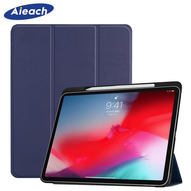 Funda dla iPad Pro 11 2018 etui z pojemnik na ołówki inteligentne PU skóra Trifold stojak + twarda obudowa tylna z poliwęglanu dla nowego ipada Pro 11 przypadku