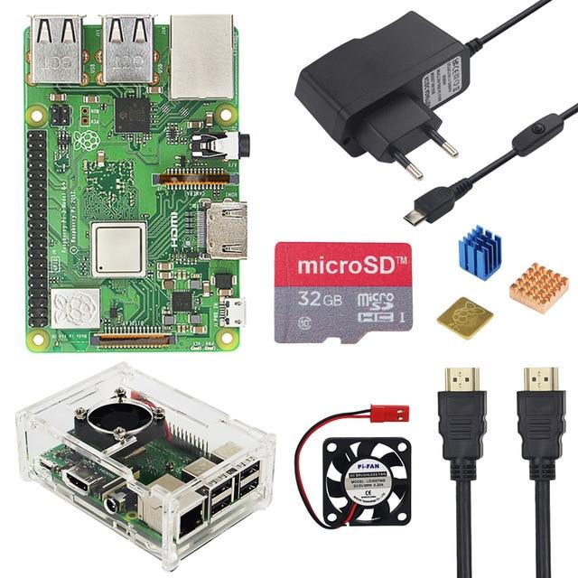 Raspberry Pi 3 Model B + Plus zestaw 16 karty SD o pojemności 32 GB + wentylator + 2.5A przełącznik zasilacz + radiator + kabel HDMI do Raspberry Pi 3 B +