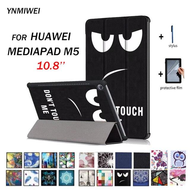 Tablet etui na Huawei mediapad m5 10.8 inteligentne PU skóra etui na Huawei mediapad M5 Pro CMR-AL09 CMR-W09 CMR-W19 + Flims