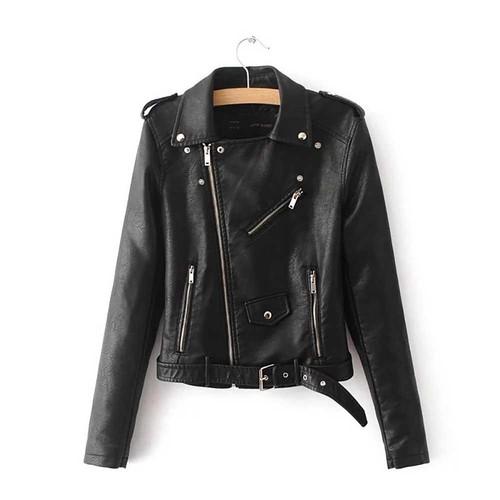 Women Autumn Casual PU Leather Short Coat Biker Jacket With Diagonal Zipper Size M - Black