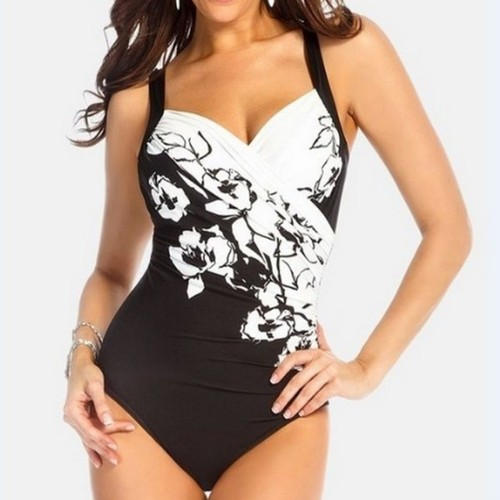 DX28 Women Floral Printed Swimsuit One-piece Swimwear Size XXXL - Black