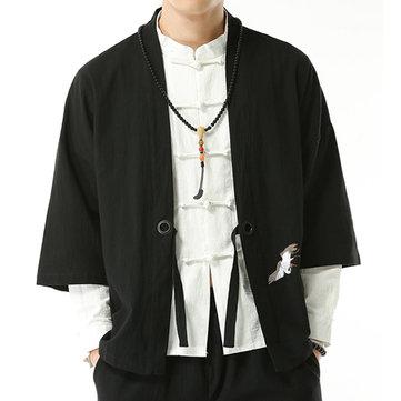 Cape de Chemise Vintage Hanfu Lâche de Broderie de Style Chinois à Manches Trois Quarts en CotonHautsfromVêtements pour hommeson banggood.com