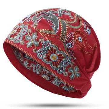 Femmes Marine Vintage Bonnet ethnique broderie fleurs Loisir Calotte Chapeau de CotonAccessoires femmefromVêtements & Accessoireson banggood.com