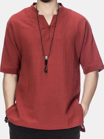 T-shirt à manches courtes à manches courtes en lin de coton style chinoisHautsfromVêtements pour hommeson banggood.com