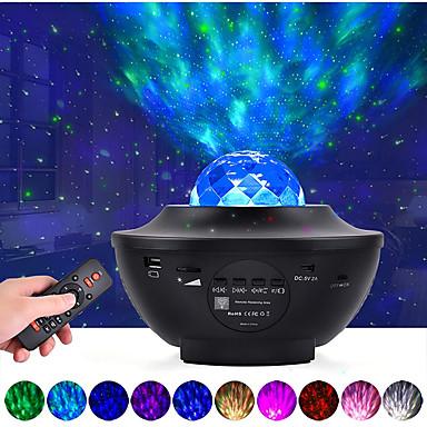 projektor led starry galaxy lampka nocna projekcja fal oceanicznych z głośnikiem muzycznym bluetooth 8w led 10 kolorów 21 trybów oświetlenia poziomy jasności regulowane za pomocą pilota - litbest